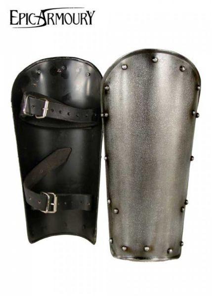 Beinschienen Dark Warrior aus Stahl, Paar M