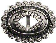 Concho aus Blech, altnickel Ø 55x43mm, Riemenbreite: 10mm