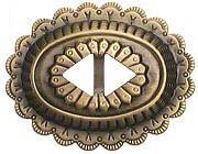 Concho aus Blech, altmessing Ø 55x43mm, Riemenbreite: 10mm