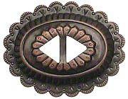 Concho aus Blech, altkupfer Ø 55x43mm, Riemenbreite: 10mm