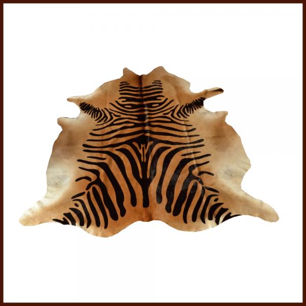 Kuhfell Zebraprint schwarz-braun