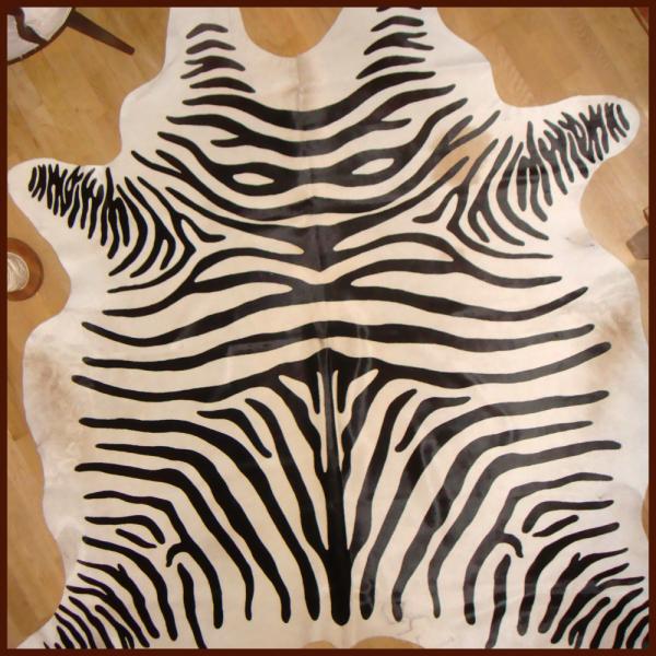 Kuhfell Zebraprint schwarz-weiß