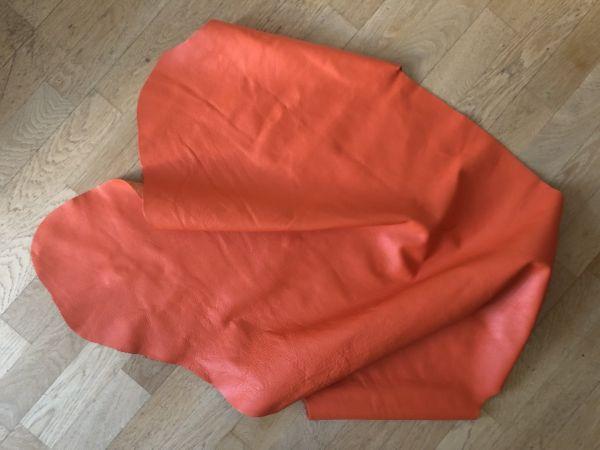 Hochwertige Leder Restposten, Orange, ca. 115x65cm