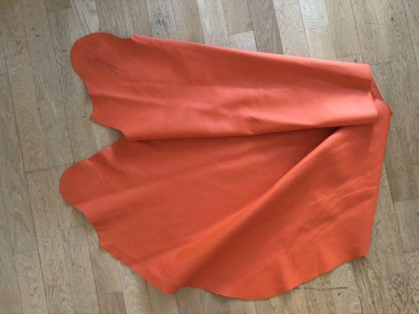 Hochwertige Leder Restposten, orange, ca. 75x110cm